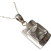 """Sleek, Modernist Sterling Silver and Crystal Pendant Necklace, 18"""" SS Chain"""