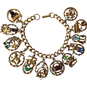 Scarce Signed Florenza Zodiac Charm Bracelet With Stones