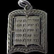 Vintage Sterling Hebrew Ten Commandments Charm Pendant