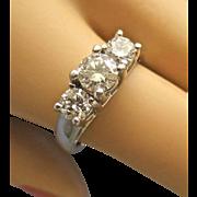 Retro Past Present Future 3 Diamond 14K White Gold Ring - 1 TCW, Size 6-3/4
