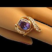 Exquisite, Bold 14K Diamond  2.4 Carat Tanzanite and 40 TCW Diamond Ring, Size 6-1/2