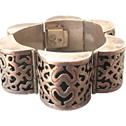 Exceptional Vintage Mexican Sterling Pierced Barrel Bracelet, Small Suize
