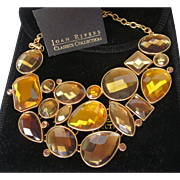 Joan Rivers Faceted Amber Crystal Bib Necklace