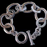 """Bold Vintage Sterling Open Link Bracelet With Toggle, 7-1/4"""", 23.9 Grams"""