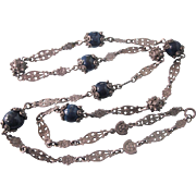 """Ornate Peruzzi Sterling and Sodalite Gemstone Etruscan Style 28"""" Necklace - Gargoyles and Lillies!"""