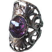 SALE!  Spectacular Sterling Amethyst Floral Saddle Ring, Size 7-1/2
