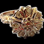 Regal Georgian 14K and Silver Rose Cut Diamond Ring
