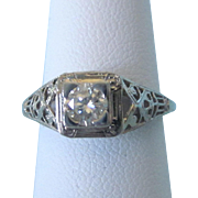 Ornate Art Deco 18K Diamond White Gold Filigree Size 6 Ring