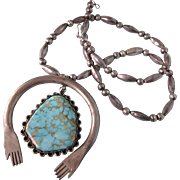 Fabulous Large NA Sterling Turquise NAJA Hands Necklace, Sterling Bead Chain