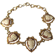 Romantic Vintage Gold Filled Shell Cameo Bracelet, Hearts and Ribbons