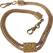 Vintage Gold Filled Double Swag Watch Chain With Slider, Two Swivels