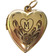Vintage Gold Filled Heart Locket With M Monogram, Pendant or Charm