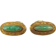 Art Nouveau Gold Filled Peking Glass Barbell Cufflinks