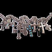 Vintage Sterling Silver Crosses Charm Bracelet, NA, Turquoise