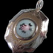 Romantic Large Sterling Silver Guilloche Locket Pendant