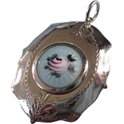 Romantic Large Sterling Silver Guilloche Locket Pendant