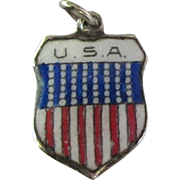 Scarce Vintage USA Enamel 800 Silver Travel Shield Charm