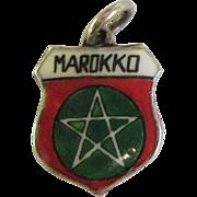 Vintage Morocco Marokko Enamel Travel Shield 800 Silver Charm