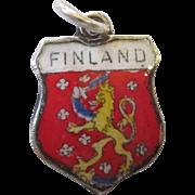 Vintage Finland Enamel Sterling Travel Shield Charm