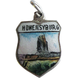 Vintage Hohensyburg Germany 800 Silver Enamel Travel Shield Charm