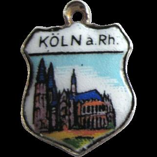 Vintage Koln a Rh. Cologne Germany 800 Silver Enamel Travel Shield Charm