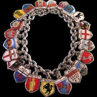"Sale!  Vintage LOADED Enamel Shield Travel Charm 7"" Bracelet, Europe, Germany"
