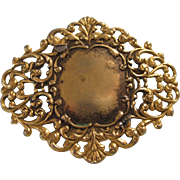 SALE!  Vintage Signed Freirich Goldtone Filigree Ornate Brooch