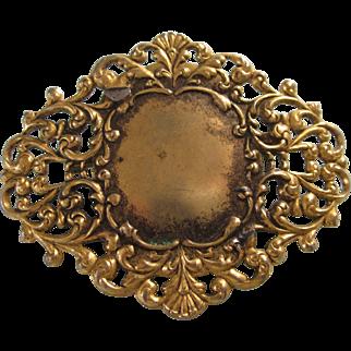 SALE!  Vintage Signed Freirich Goldtone Filigree Ornate Brooch