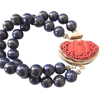 Fabulous Chunky Lapis Bead Bracelet With Sterling Cinnabar Carved Bat