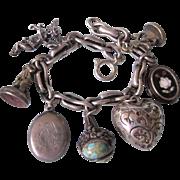 Antique Chunky Sterling Cherub, Locket, Intaglio Fob Charm Bracelet, 71 Grams