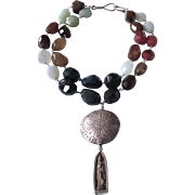 Sterling Multi-Gem Chunky Bead Tribal Pendant Necklace With Bronze Buddha