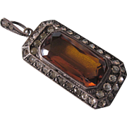 Art Deco Sterling Paste Rhinestone Pendant With Amber Crystal