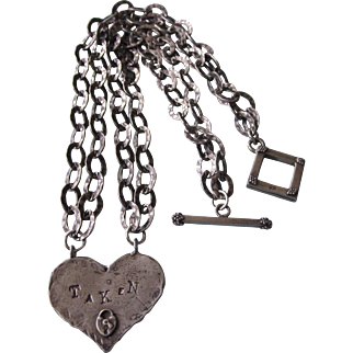 Sterling Studio Heart Open 'Taken' Hammered Link Pendant Necklace