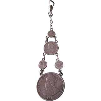 Antique Sterling Fob With 1904 Panama Silver Coins - Pendant