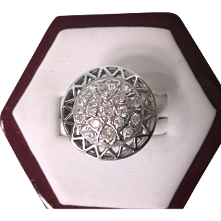 Art Deco 14K White Gold Old Miner's Cut Large Round Diamond Ring, Size 6-3/4