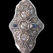 Stunning Large Art Deco 18K Gold Diamond and Sapphire Filigree Ring, Size 6-3/4