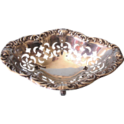 Orante Kirks Sterling Claw Footed Nut, Mint or Ring Dish, 32.6 Grams, Crescent Moon Design