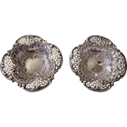 Pair of Ornate Victorian Sterling Birmingham England Nut, Mint or Ring Dishes