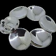 Modernist Design Sterling Silver Bold Discs Bracelet, Fancy Toggle - 48.2 Grams!