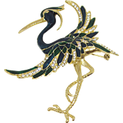 Dramatic, Huge Peacock Brooch With Enamel and Rhinestones