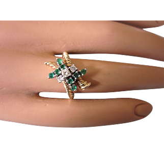 Vintage Signed Trubrite 14K Gold, Diamond and Emerald Bypass Ring, Size 6-7/8