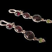 Vintage Long Sterling Garnet and Peridot Gemstone Pierced Dangling Earrings