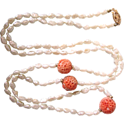 "50% OFF!   Vintage Freshwater Pearl, Sponge Coral and 14K Gold 30"" Rope Necklace"