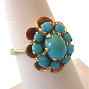 Vintage 14K Persian Turquoise Princess Moghal Ring, Size 6-1/2