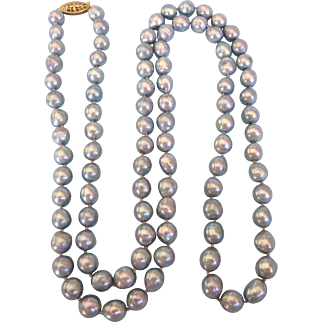 "Lustrous Silvery Gray Freshwater Pearl Baroque 37"" Rope Necklace"