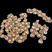 """Dazzling Signed Vintage Austrian Crystal Bezel Set - Rope 36"""" Necklace, Bracelet, Dangle Earrings"""