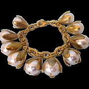 Vintage Chunky Faux Pearl Goldtone Charm Bracelet