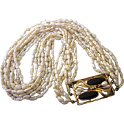 """Vintage Natural Freshwater Rice 9 Strand 17-1/2"""" Necklace With Fancy Onyx and Pearl Clasp"""