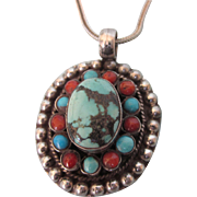 Vintage Sterling Silver, Turquoise and Coral Tiered Pendant With Chain Necklace