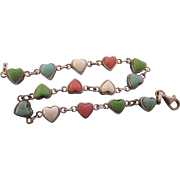 Sweet Sterling Gemstone Hearts Line or Tennis Bracelet